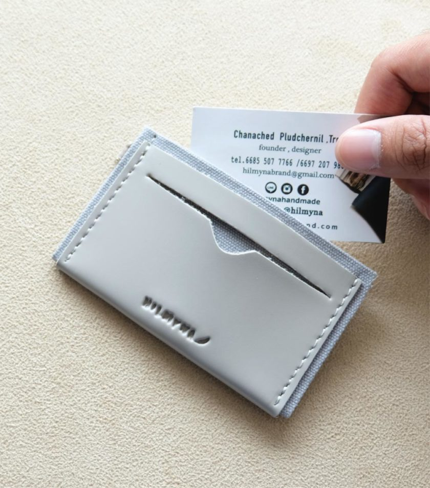Card sleeve ซองนามบัตรหนัง สีเทา-02