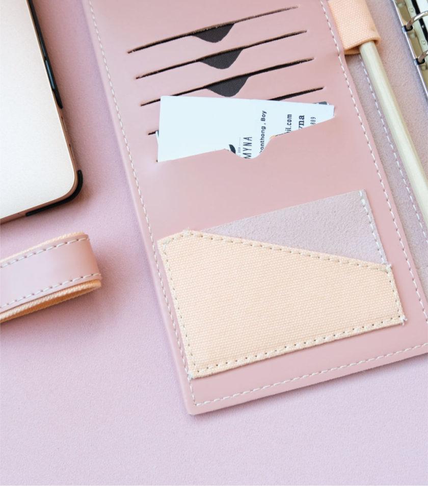 สมุดบันทึกปกหนัง pocket magbook สีชมพู-3