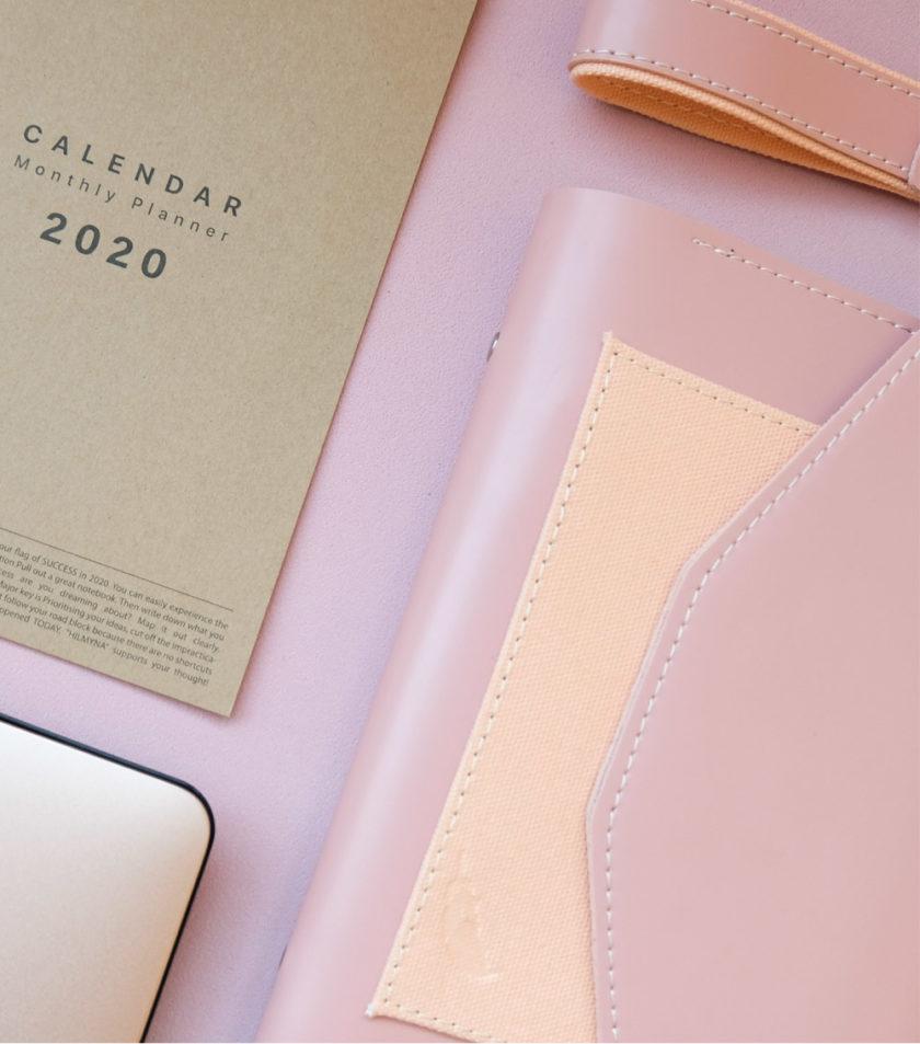 สมุดบันทึกปกหนัง pocket magbook สีชมพู-4